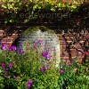 Old Westbury Gardens Brick Wall and Purple Flowers 2