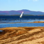 Lake Winnipesaukee Sailboat and Sand Enhanced