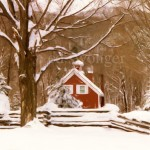 Red House in Snow Enhanced