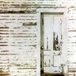 White Wall and Door with Chipped Paint Enhanced